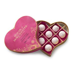 Pink Prosecco Truffles Heart open box image